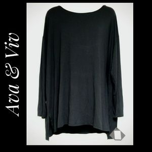 Ava & Viv Solid Black Long Sleeve Top Size 4X NWTS